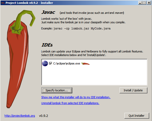 Screenshot of the Lombok Installer