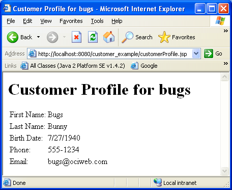 Examples of customer profiles